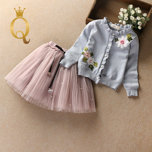 Girls Floral Frilled Cardigan And Tutu Skirt Set (2 Piece Set) - 100 (3-4Y) / Blue Top Pink Skirt -