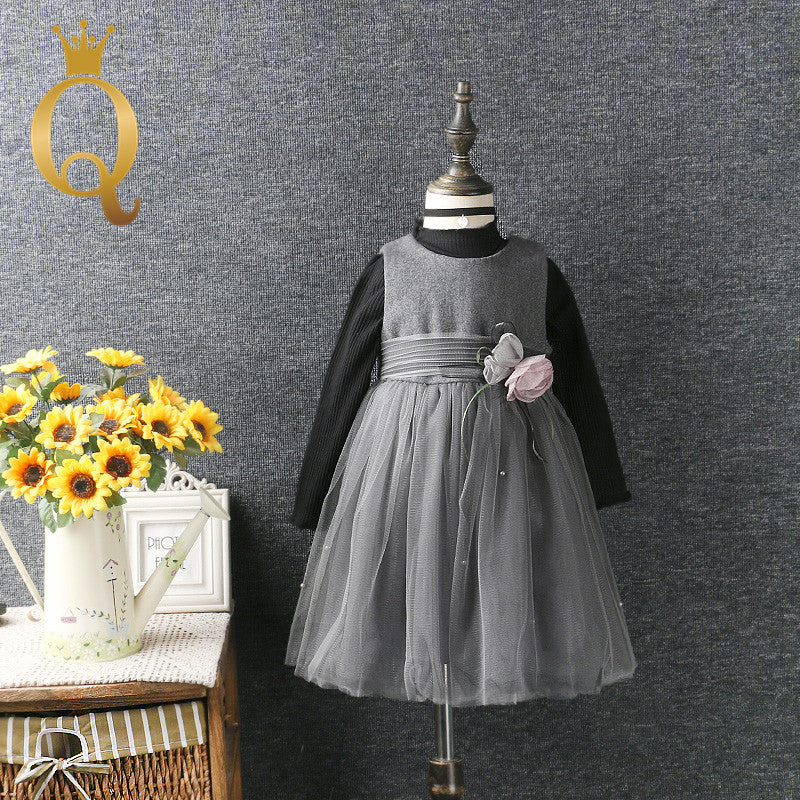 Girl's Long Sleeve T-Shirt with Prom Dress Set (2 Piece Set)