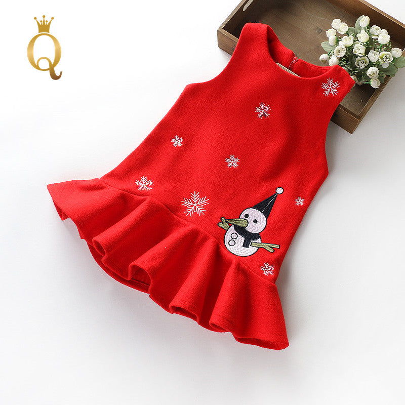 Girl's Frill Edge Embroidery Snowman Winter Vest Dress