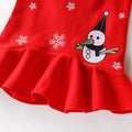 Girls Frill Edge Embroidery Snowman Winter Vest Dress - -