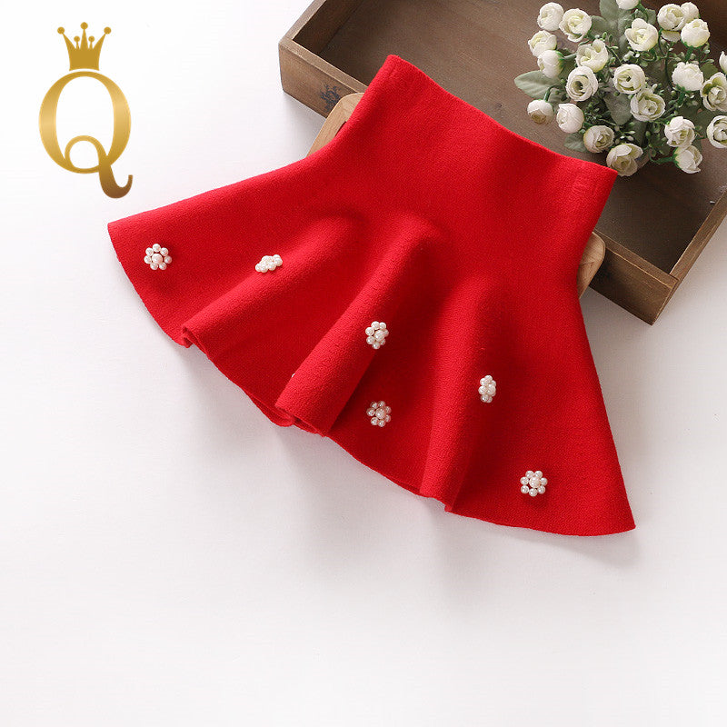 Girls Cashmere Skirt - 110 (4-5Y) / Red -