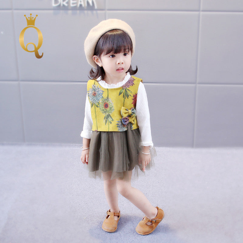 Girls Long Sleeve Dress With Wool Vest (2 Piece Set) - 90 (2-3Y) / Yellow -