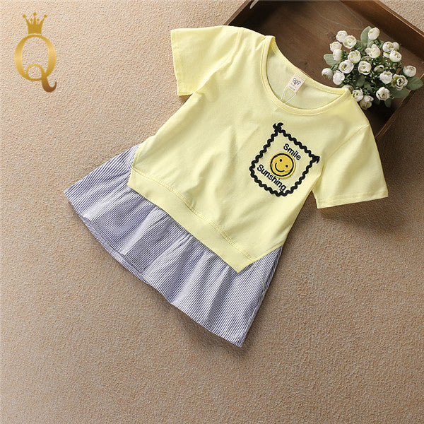 Girls Spliced T-Shirt - 150 (9-11Y) / Yellow - In Transit