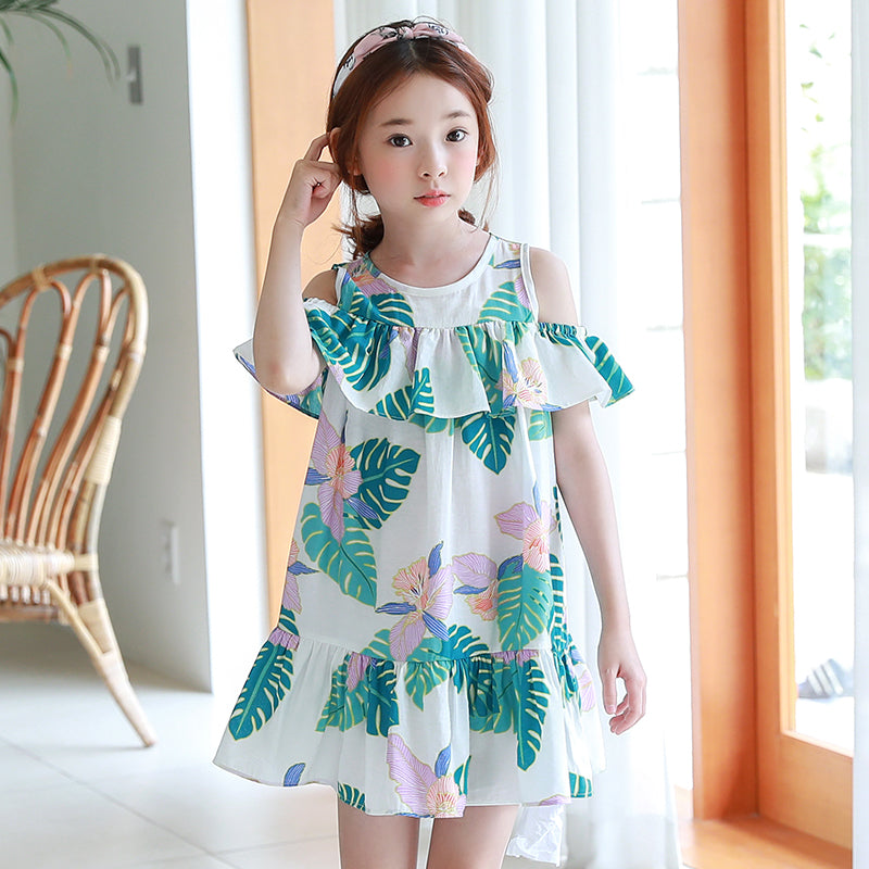 Girl's Banana Tree Print Summer Beach Dress