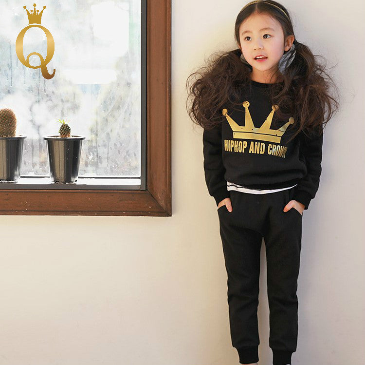 Unisex Golden Crown Print Front Black Sweater Set (2 Piece Set)