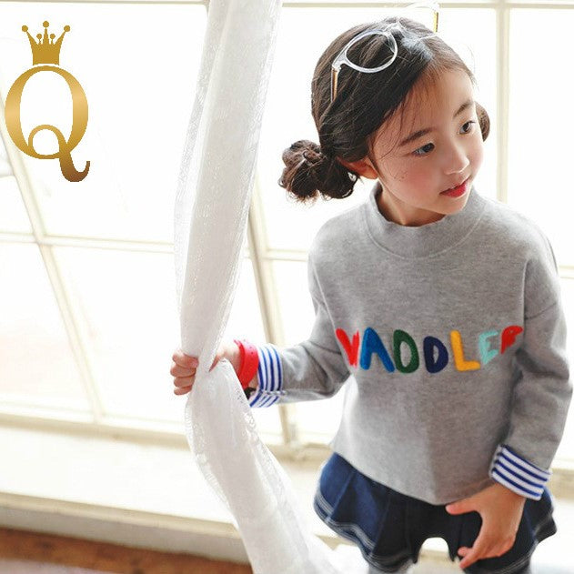 Girls Colorful Embroidery Letter Sweater - -