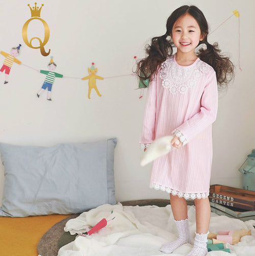 Girls Lace Edge Sleeping Gown - -