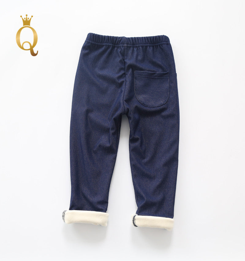 Girls Winter Fleece Lined Denim Trousers - -