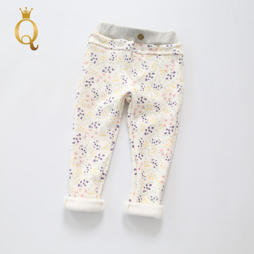 Girls Winter Full Fleece Lining Flower Print Legging - - 2017