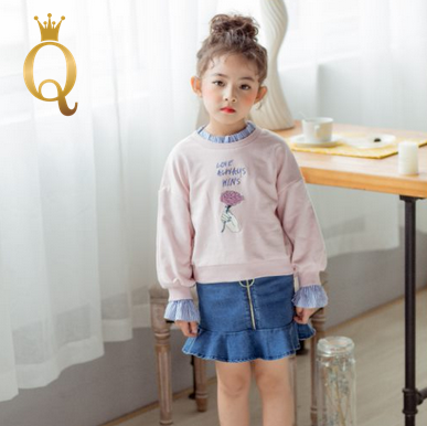 Girl's Fashion Sweater and Denim Skirt Set (2 Piece Set)