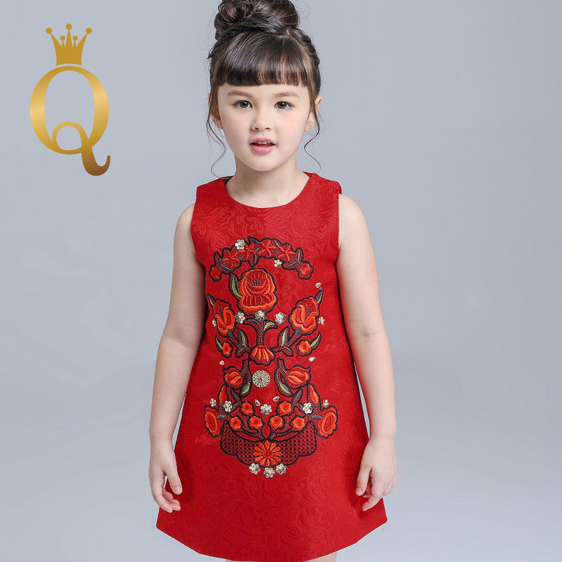 Girls Embriodery Front Red Sleeveless Dress - -