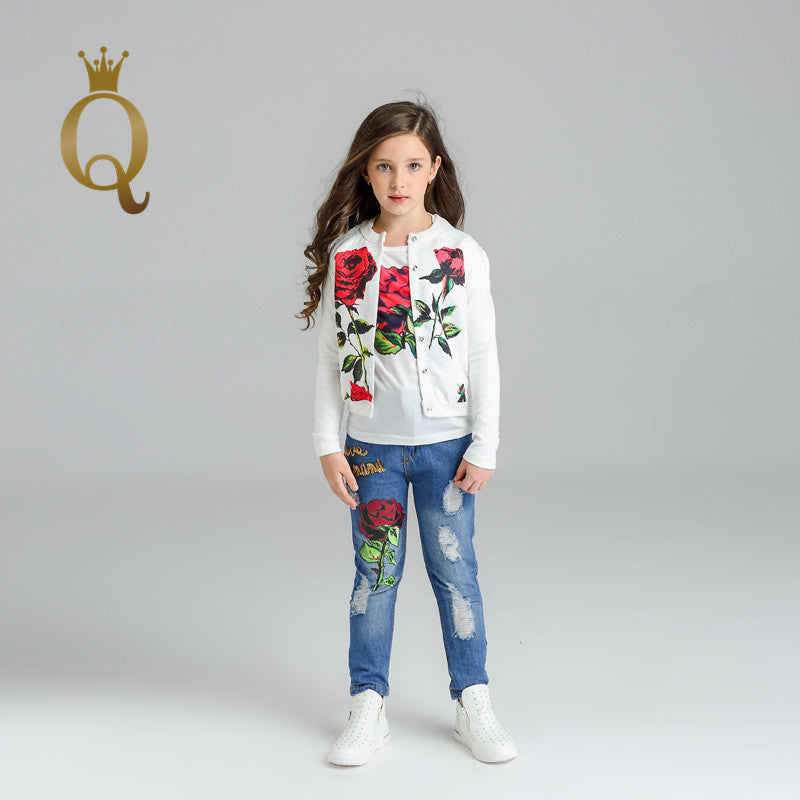 Girl's Rose Print Jeans And Top Set (3 Piece Set)