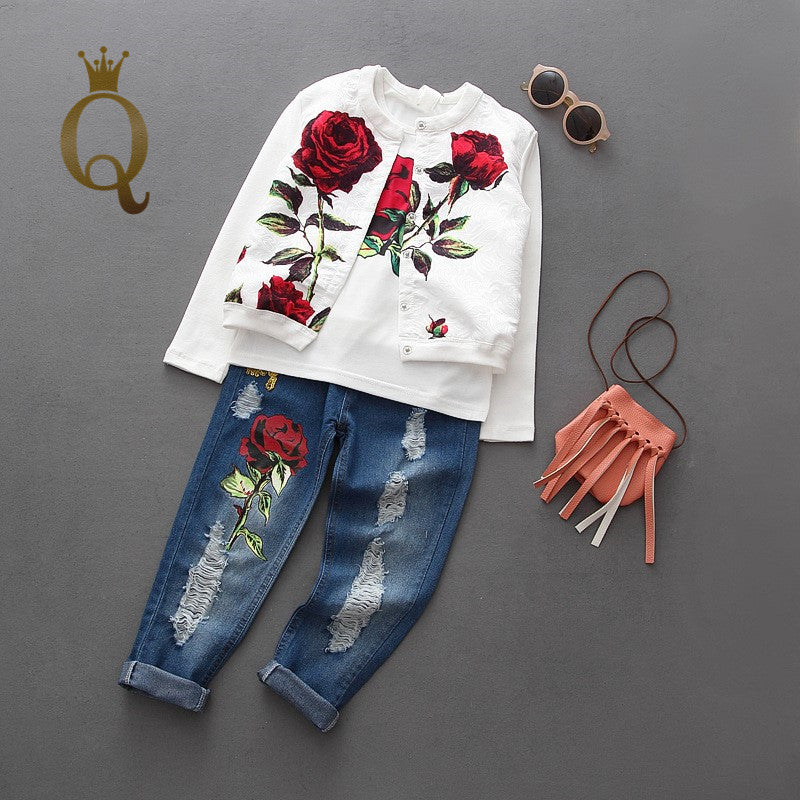 Girls Rose Print Jeans And Top Set (3 Piece Set) - - Complete Set