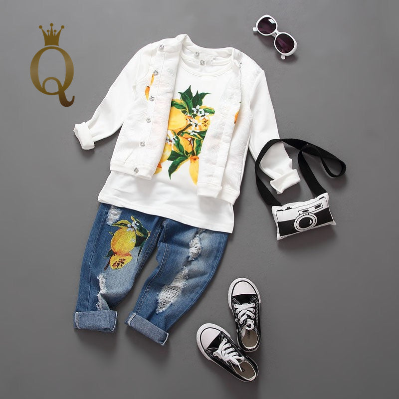 Girl's Lemon Print Jeans And Top Set (3 Piece Set)