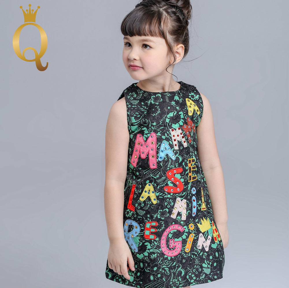 Girl's Sleeveless Embroidery Dress