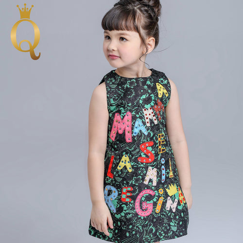 Girls Sleeveless Embroidery Dress - 100 (3-4Y) / Green -
