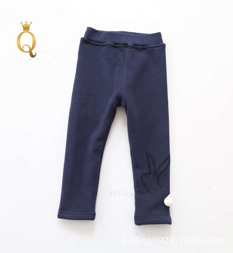Girls Winter Full Fleece Lining Rabbit Legging - 100 (3-4Y) / Navy -