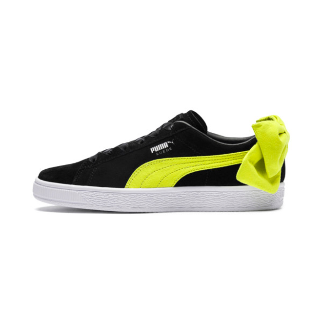 Puma Suede Bow Block Womens Black/Neon Yellow Trainers | Active ...
