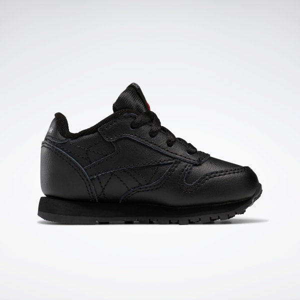 Reebok Classic 'Black' Leather Shoes - Toddler