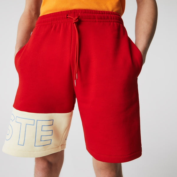 Men's Colorblock Fleece Shorts (Red / Beige)