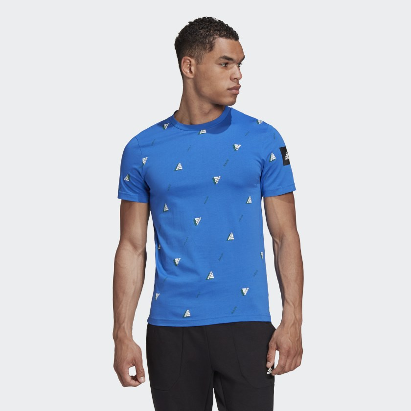 Adidas Must Haves Graphic Men's 'Blue' Tee