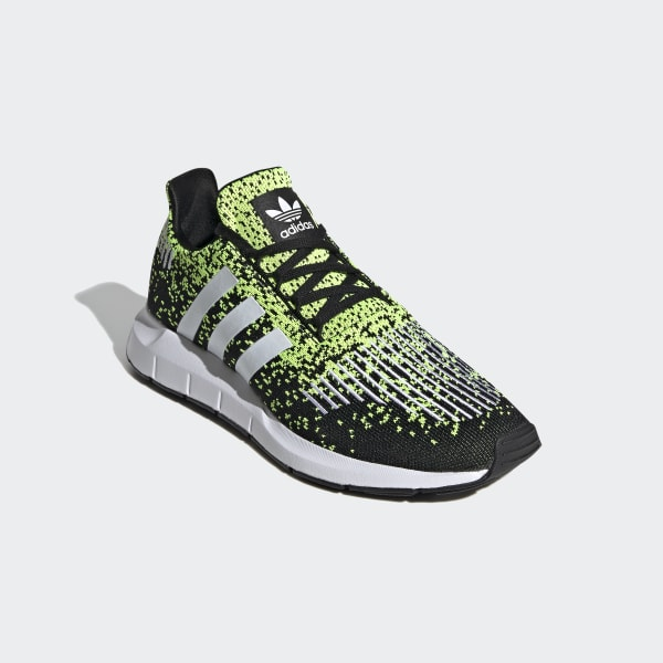 Adidas Men's Swift Run Black, White and Solar Yellow Shoes