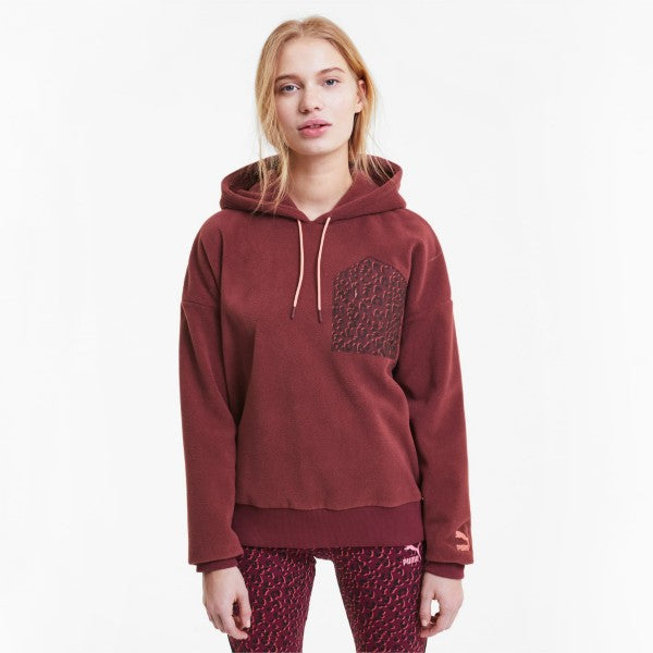 PUMA Tailored for Sport Women's Polar  Burgundy Fleece Hoodie