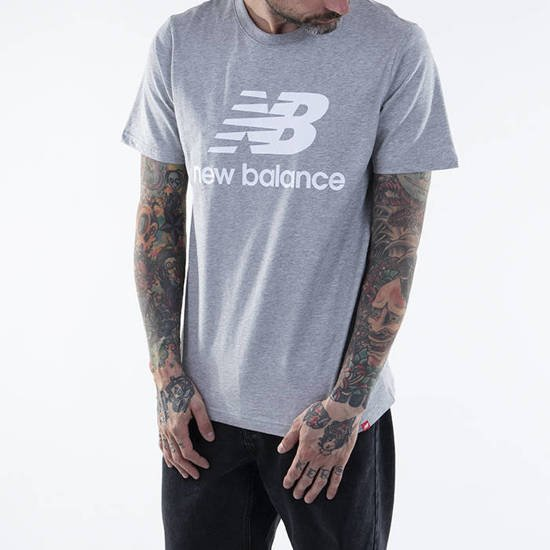 New Balance Men's Essentials Stacked Logo Tee (Athletic Grey)