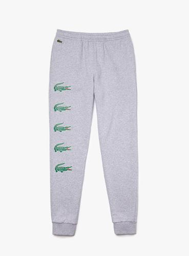 Men's Lacoste SPORT Crocodile Print Fleece Jogging Grey Chine Pants