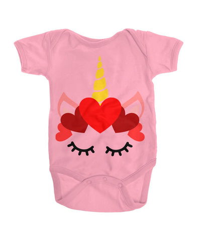 Valentine's Day Unicorn Baby Bodysuit