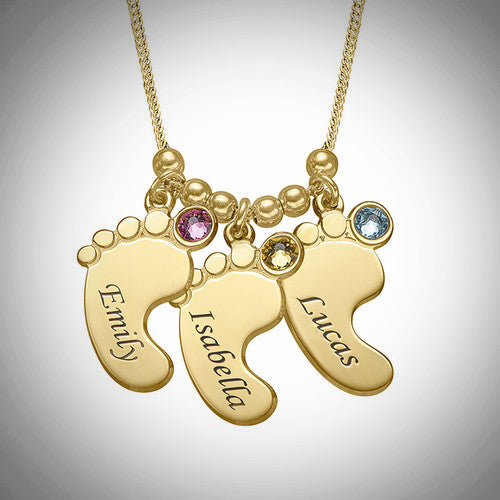 3 Baby Feet Necklace with Gold Plating and Birthstone