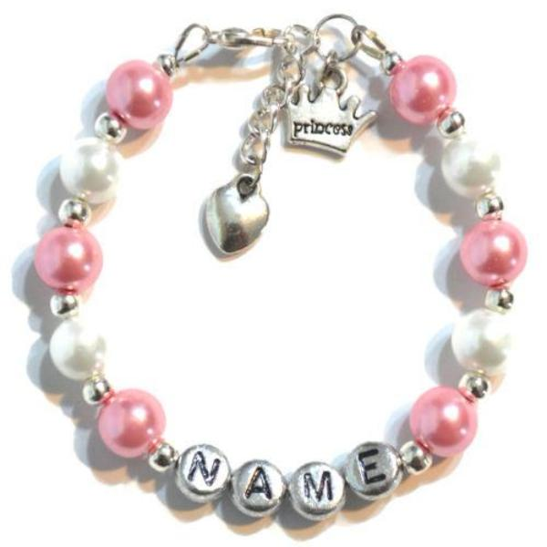 Custom Girl's Heart Charm Bracelet (Made to Order)