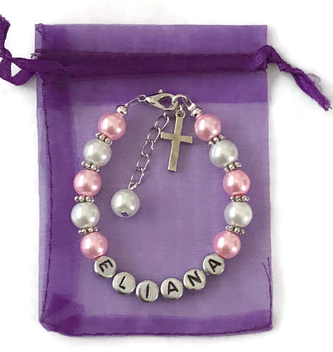 Personalized Girl's Cross Bracelet (Made to Order)
