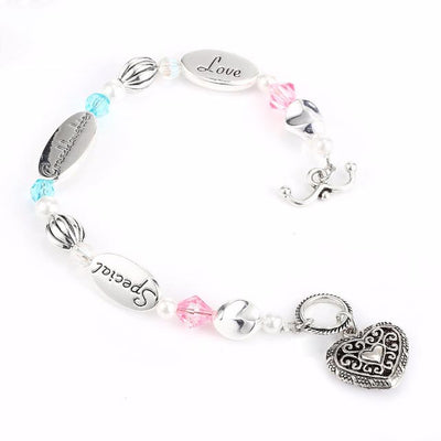 Granddaughter Heart Charm Bead Bracelet