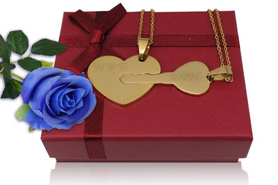 Couples Heart and Key Necklace - 2 Pieces