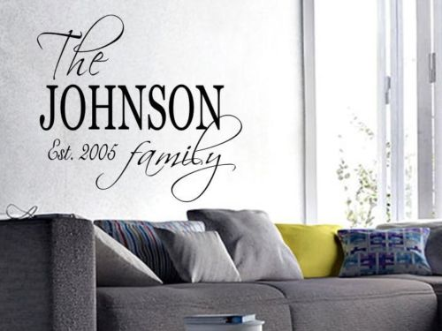 FAMILY NAME PERSONALIZED Wall Art Decal