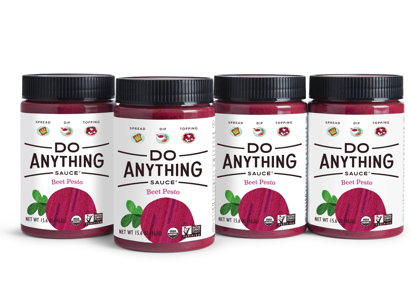 Four Jars of Do Anything Foods Beet Pesto