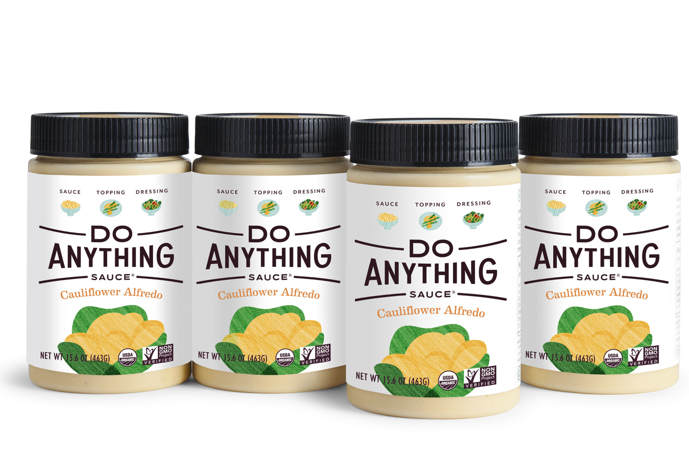 Four Jars of Do Anything Foods Cauliflower Alfredo