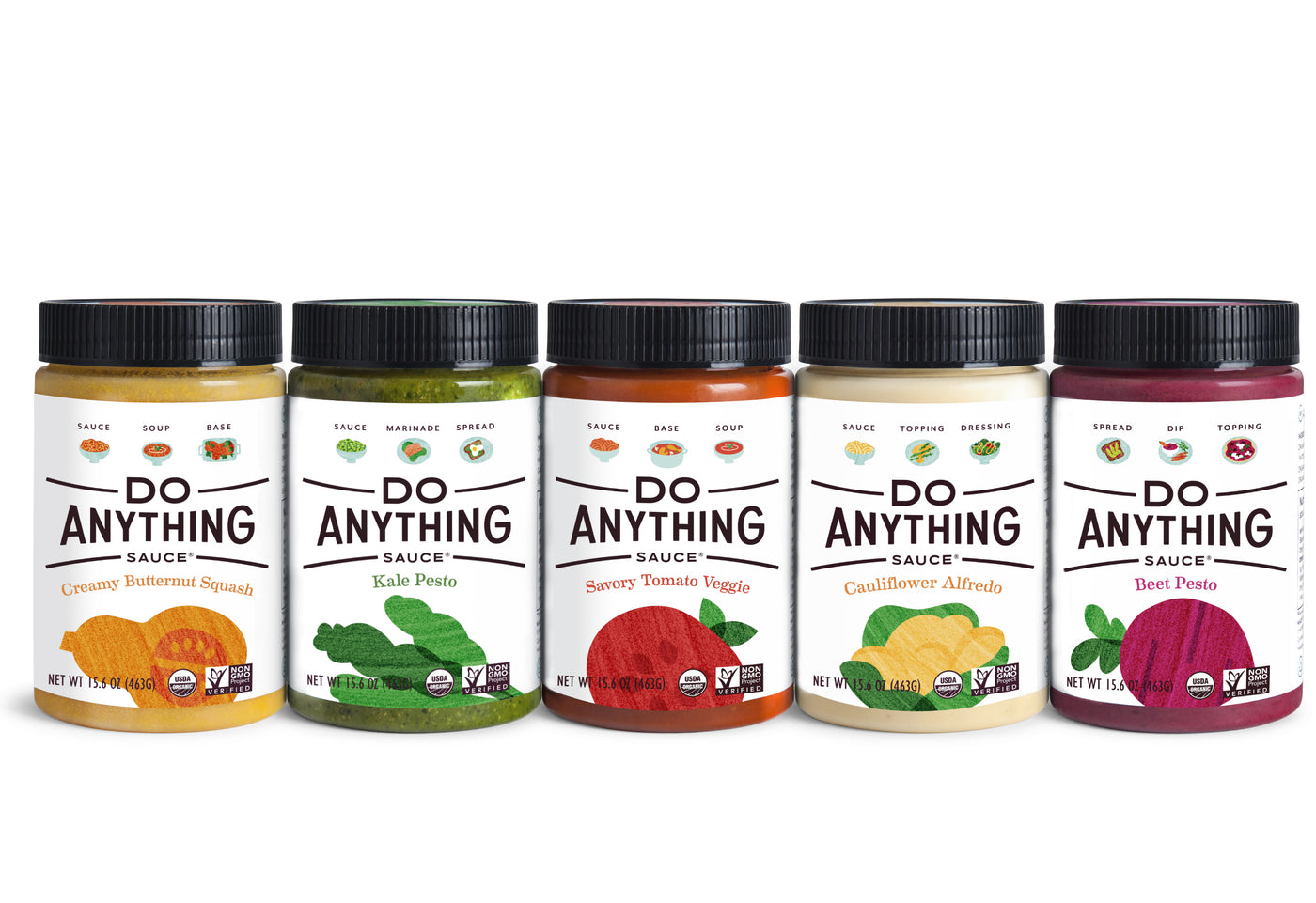Do Anything Sauce Dinner Revival Kit; line up Butternut Squash Sauce, Kale Pesto, Tomato Veggie Sauce, Cauliflower Alfredo and Beet Pesto
