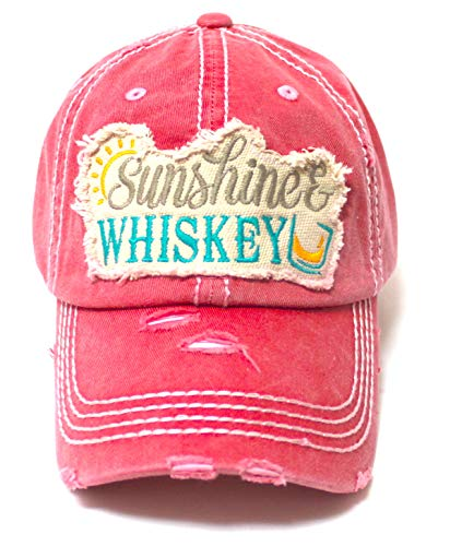 CAPS 'N VINTAGE Women's Distressed Beach Hat Sunshine Fun Patch Embroidery Monogram Ballcap, Coral Rose - Caps 'N Vintage