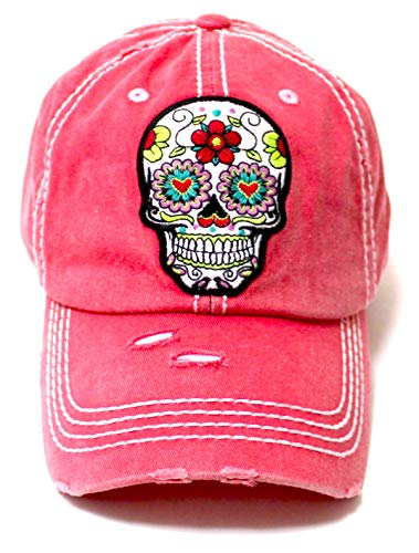 Women's Vintage Hat Sugar Skull Monogram Patch Embroidery Baseball Cap, Rose Pink