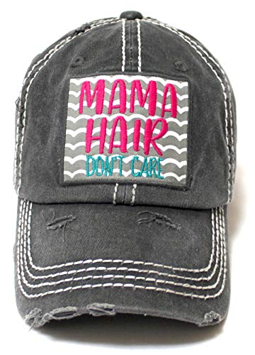 CAPS 'N VINTAGE Women's Beach Cap Mama Hair Don't Care Patch Embroidery Adjustable Baseball Hat, Graphite Black - Caps 'N Vintage