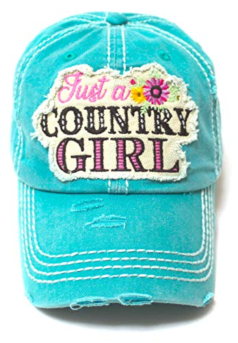 Women's Summer Cap Just a Country Girl Spring Floral Patch Embroidery Adjustable Hat, California Turquoise Blue - Caps 'N Vintage