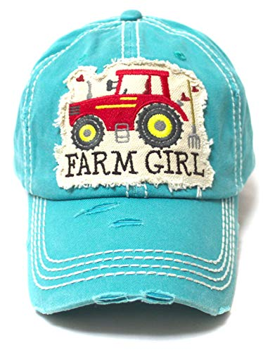 Women's Distressed Hat Farm Girl Country Love Patch Embroidery Monogram Ballcap, California Beach Blue - Caps 'N Vintage