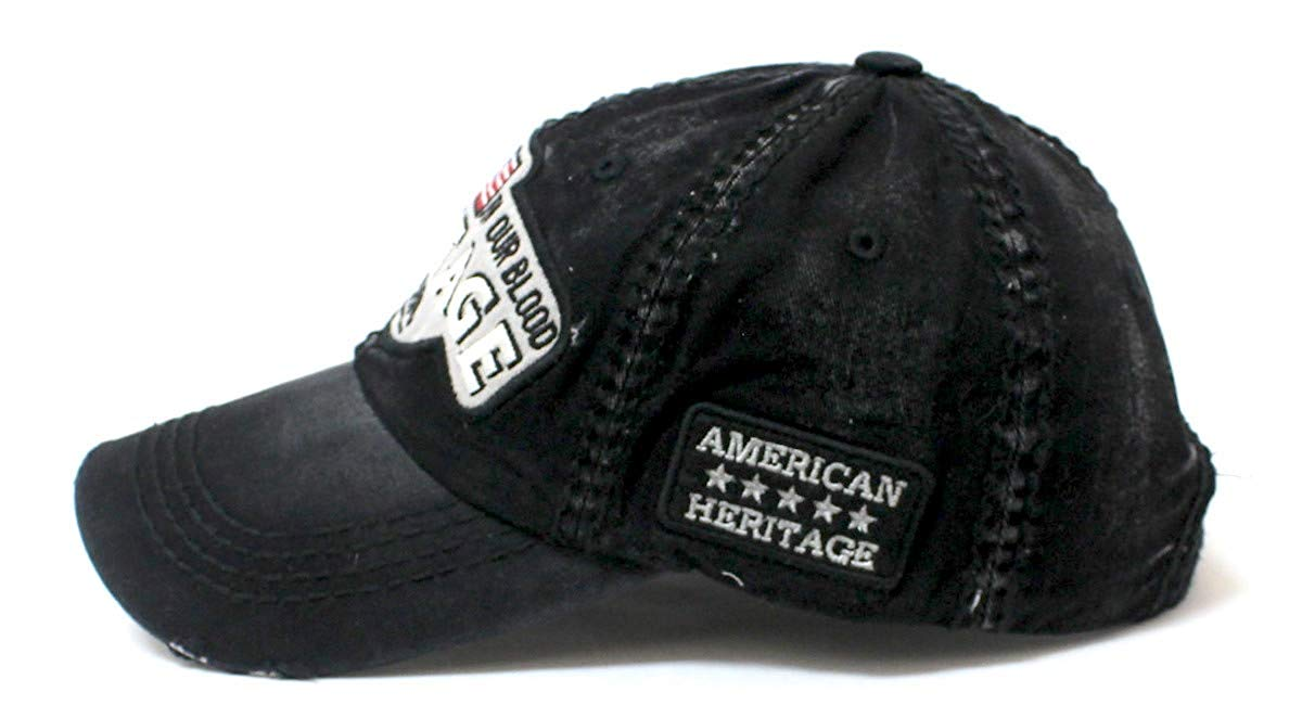 CAPS 'N VINTAGE Black Heritage USA Distressed Baseball Cap - Caps 'N Vintage
