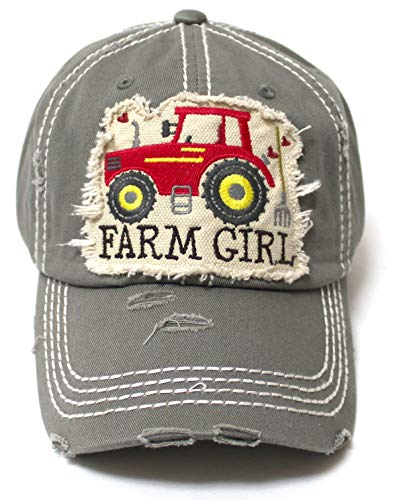 Women's Distressed Hat Farm Girl Country Love Patch Embroidery Monogram Ballcap, Moss Cashmere - Caps 'N Vintage