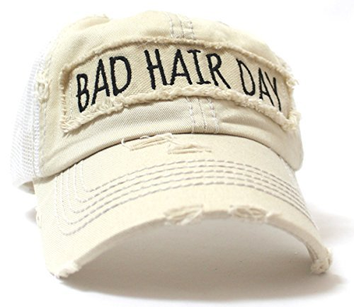 "NEW! SUMMER MESH COLLECTION: Khaki ""BAD HAIR DAY"" Vintage Trucker Hat - Caps 'N Vintage"