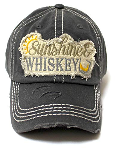 Women's Distressed Beach Hat Sunshine Fun Patch Embroidery Monogram Ballcap, Vintage Black - Caps 'N Vintage