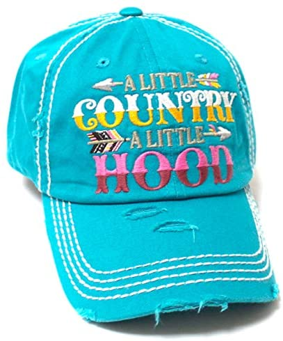 CAPS 'N VINTAGE Tribal Western Ballcap Little Country Little Hood Monogram Embroidery Adjustable Baseball Hat, California Turquoise Blue - Caps 'N Vintage
