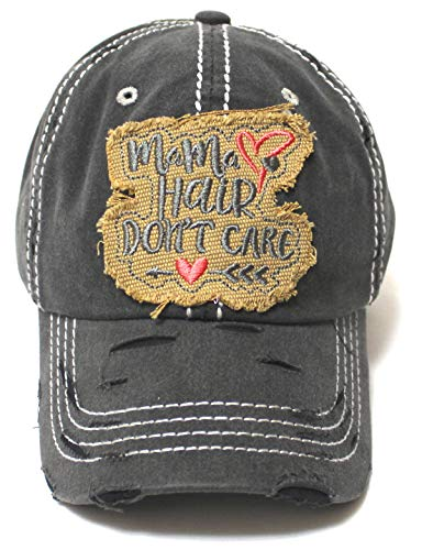 Mama Hair Don't Care Hearts & Arrow Monogram Patch Embroidery Adjustable Hat, Vintage Black